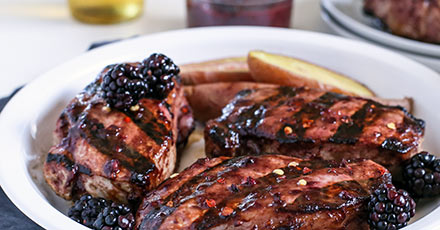 Simply Organic Easy Balsamic Blackberry Glazed Grilled Pork Chops Recipe