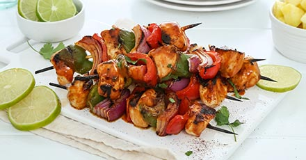 Simply Organic Honey Chipotle BBQ Chicken Skewers Recipe