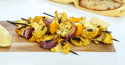Simply Organic Grilled Curried Cauliflower Steak Skewers Recipe